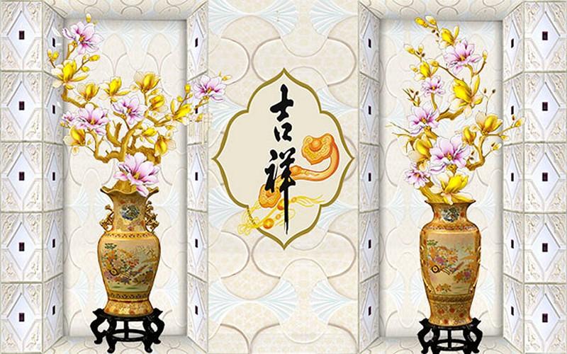 Mẫu tranh dán tường 3d khổ lớn phòng khách cổ điển đẹp - Mã: 3D-001-copy