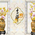 Cách chọn tranh dán tường bình hoa cho phòng khách nhỏ đẹp
