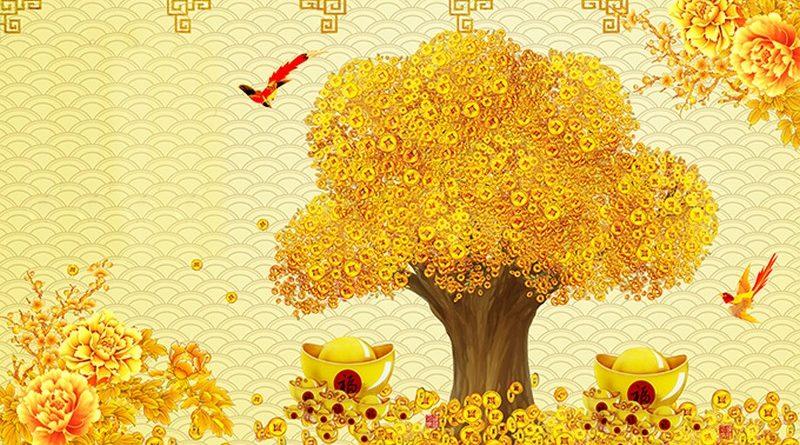 Địa chỉ in tranh dán tường 3D khổ lớn cây kim tiền giá rẻ tại Hà Nội