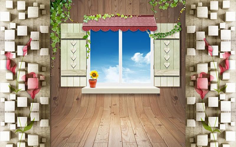 In tranh dán tường 3D hình cửa sổ khổ lớn giá rẻ