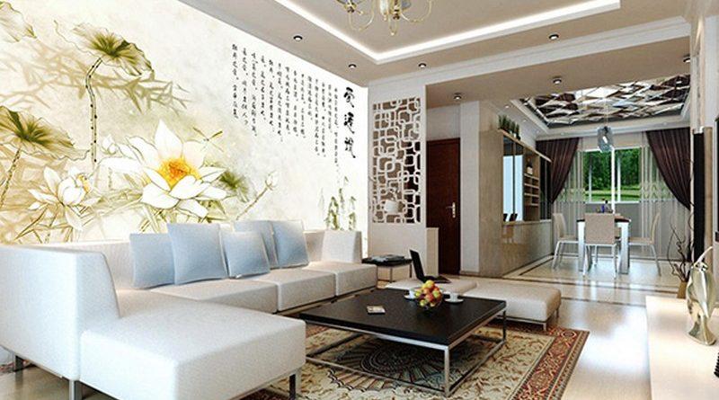 In tranh dán tường 3D khổ lớn cho phòng khách theo yêu cầu giá rẻ