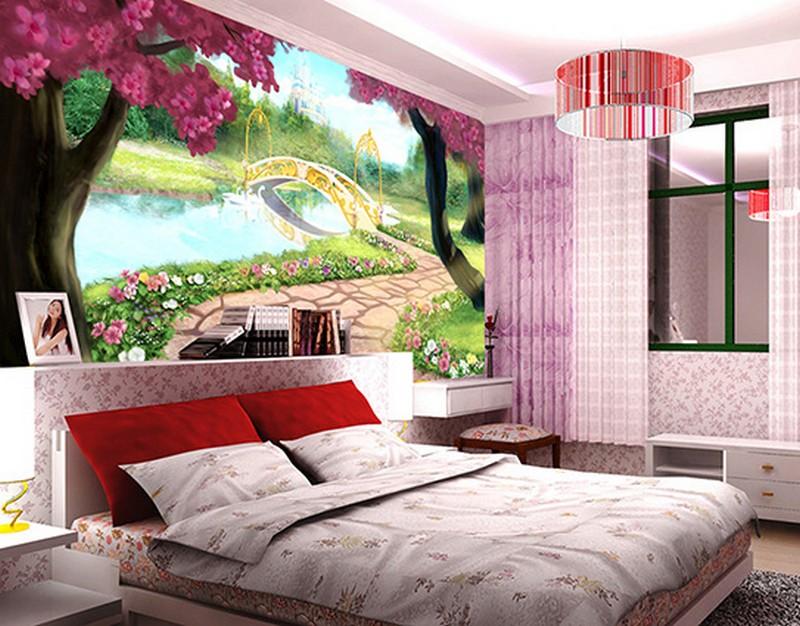 In tranh dán tường 3D khổ lớn cho phòng ngủ nhiều mẫu mã mới, giá rẻ