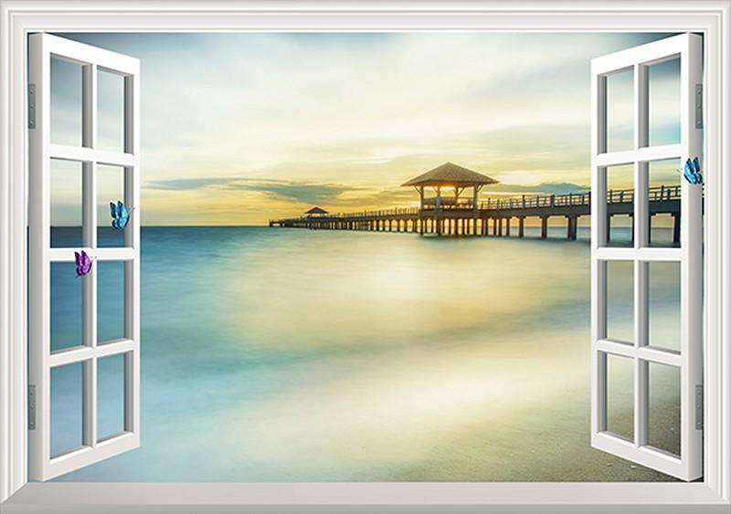 Tranh 3D cửa sổ đẹp - Mã: HB321-copy