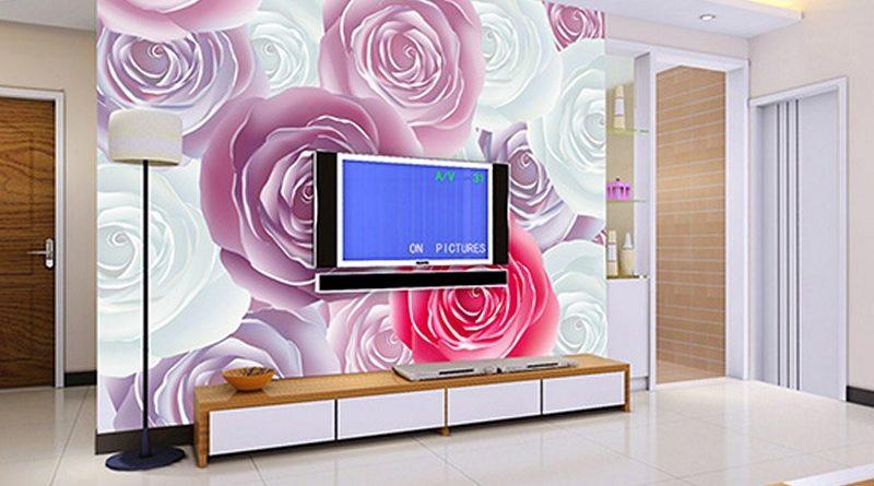 Thiết kế nội thất phòng khách đẹp độc đáo với tranh dán tường