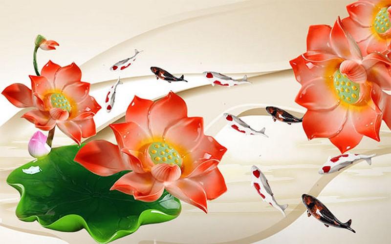 Tranh hoa sen - cá chép, cửu ngư quần hội đẹp - Mã: BH-140-copy