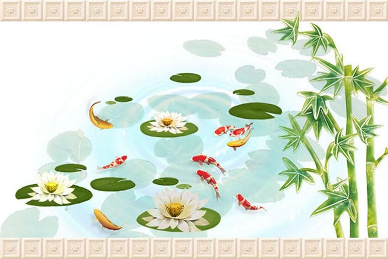 Tranh hoa sen - cá chép, cửu ngư quần hội đẹp - Mã: BH-141-copy