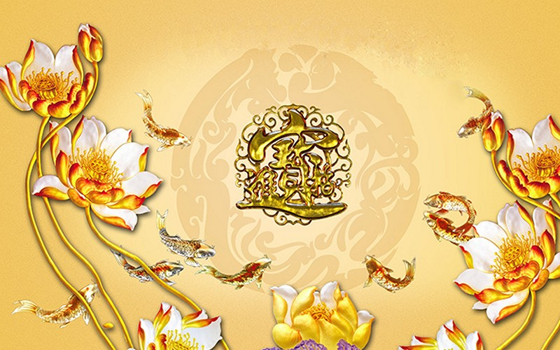 Tranh hoa sen - cá chép, cửu ngư quần hội đẹp - Mã: CD-026-copy