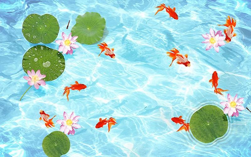 Tranh hoa sen - cá chép, cửu ngư quần hội đẹp - Mã: DH-0112-copy
