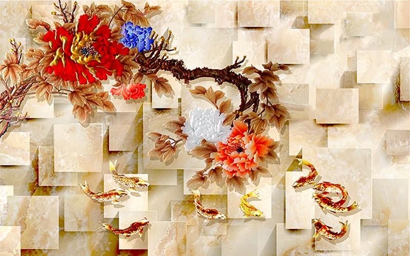Tranh dán tường 3D cửu ngư quần hội đẹp - Mã: TH-2171