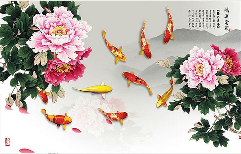 Tranh dán tường 3D cửu ngư quần hội đẹp - Mã: YD-367-copy