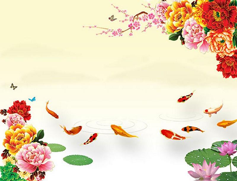 Tranh dán tường 3D cửu ngư quần hội đẹp - Mã: YD-465-copy