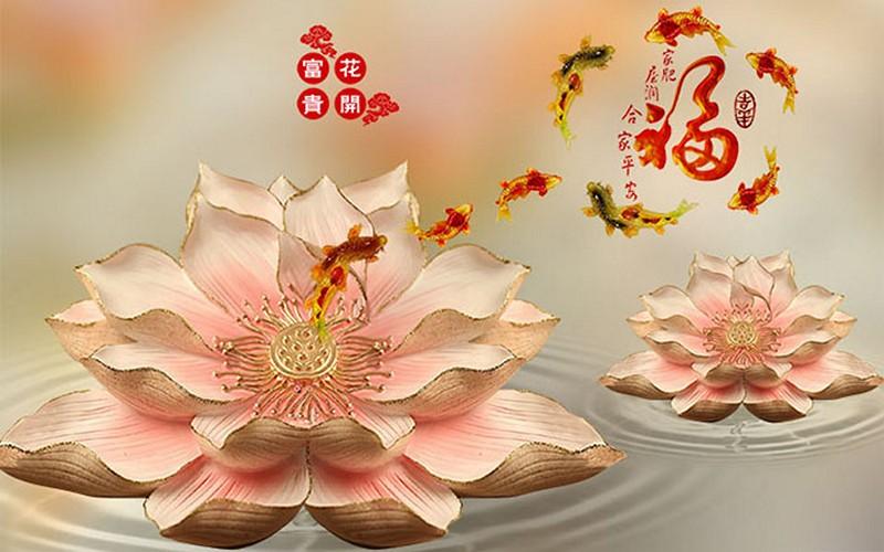Tranh hoa sen - cá chép, cửu ngư quần hội đẹp - Mã: 3D-003-copy
