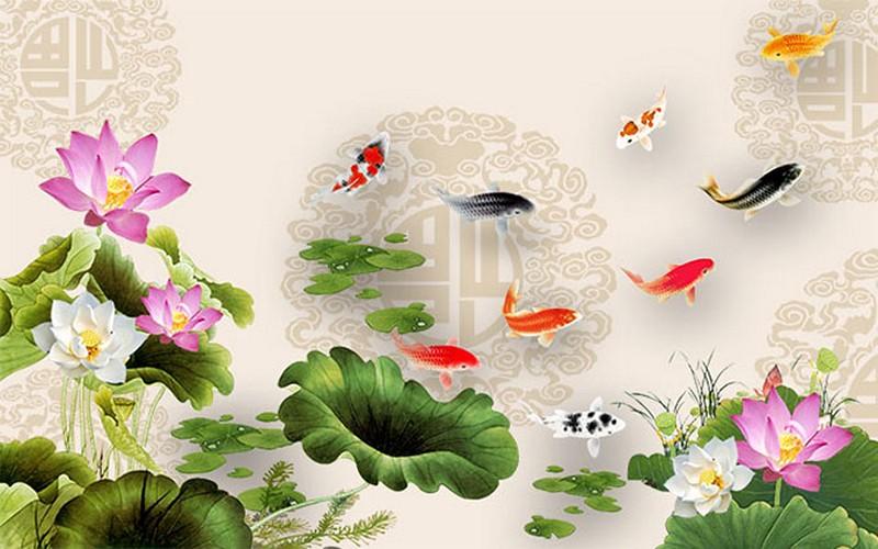 Tranh hoa sen - cá chép, cửu ngư quần hội đẹp - Mã: 3D-038-copy