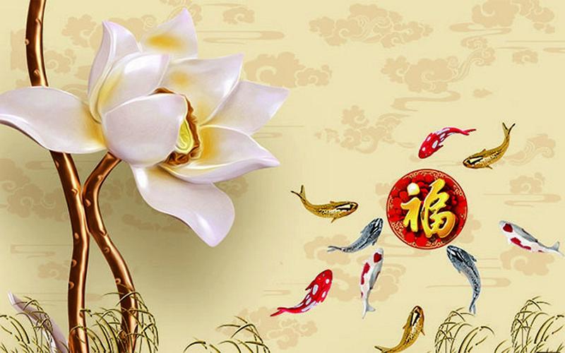 Tranh hoa sen - cá chép, cửu ngư quần hội đẹp - Mã: 3D-074-copy