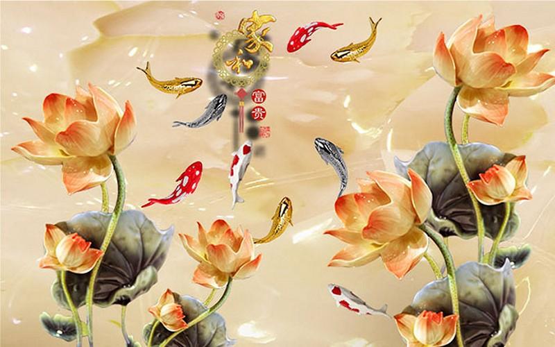 Tranh hoa sen - cá chép, cửu ngư quần hội đẹp - Mã: 3D-092-copy