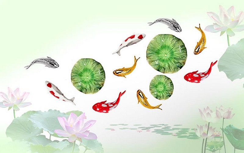 Tranh hoa sen - cá chép, cửu ngư quần hội đẹp - Mã: BH-136-copy