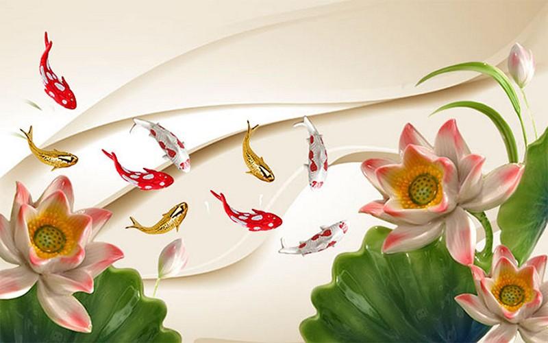 Tranh hoa sen - cá chép, cửu ngư quần hội đẹp - Mã: BH-139-copy