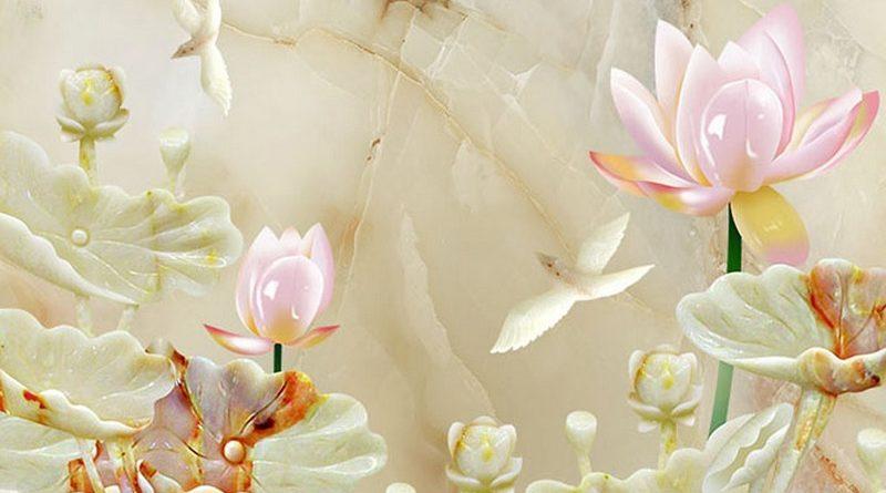 Bộ sưu tập tranh dán tường 3D hoa sen cá chép đẹp, độc, đỉnh