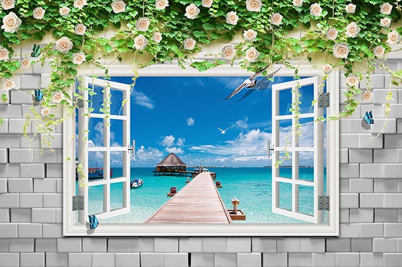 Mẫu tranh cửa sổ giả đẹp - Mã: TH-2029