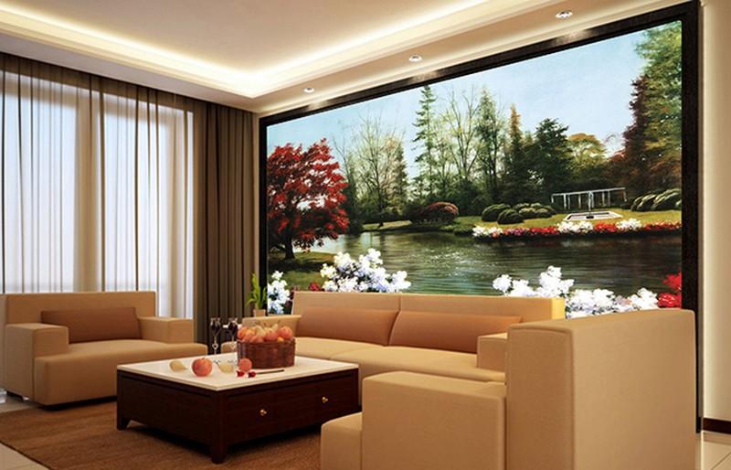 Lựa chọn vị trí dán tranh 3d phù hợp sẽ làm tăng giá trị phòng khách