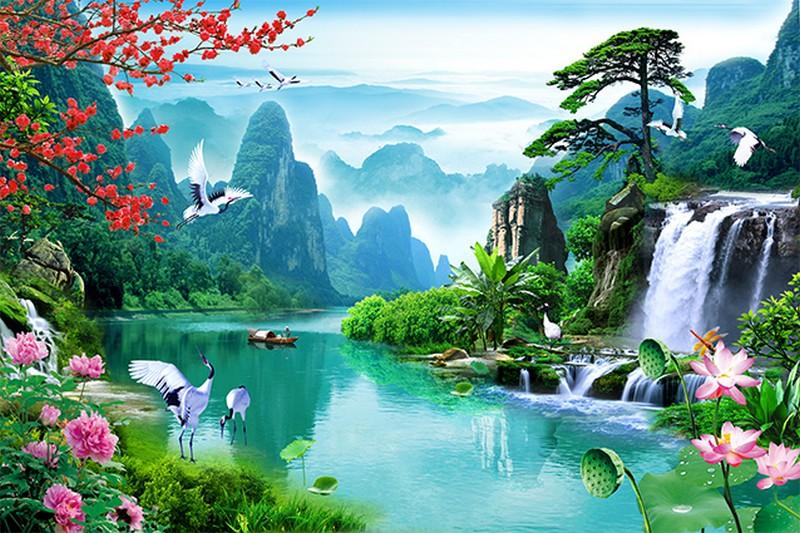 Tranh phong cảnh thiên nhiên sơn thủy hữu tình - 01