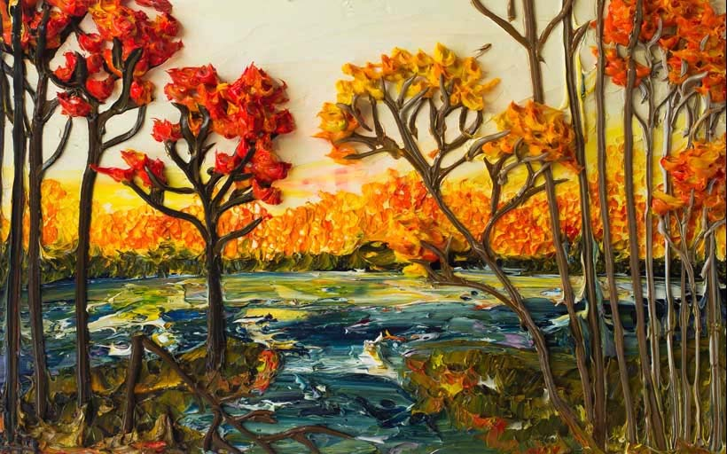 Tranh phong cảnh sơn dầu in khổ lớn đầy nghệ thuật, Mẫu in: TH_04712