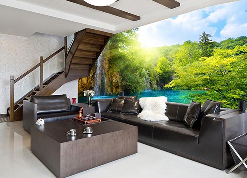 Tranh dán tường 3d phòng khách đẹp, tạo độ thoáng cho không gian