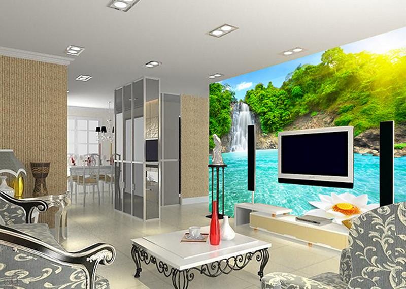 Tranh dán tường 3d phòng khách nên dán sau ti vi hoặc sau ghế sofa