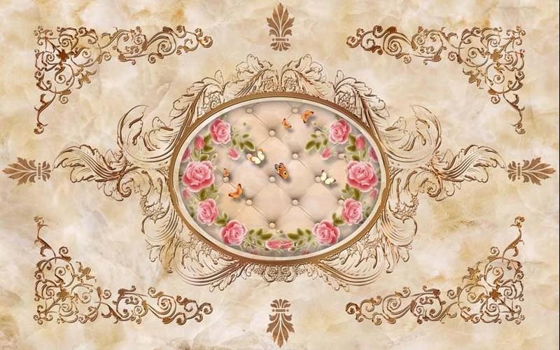 Mẫu tranh dán nền nhà họa tiết hình hoa dịu dàng