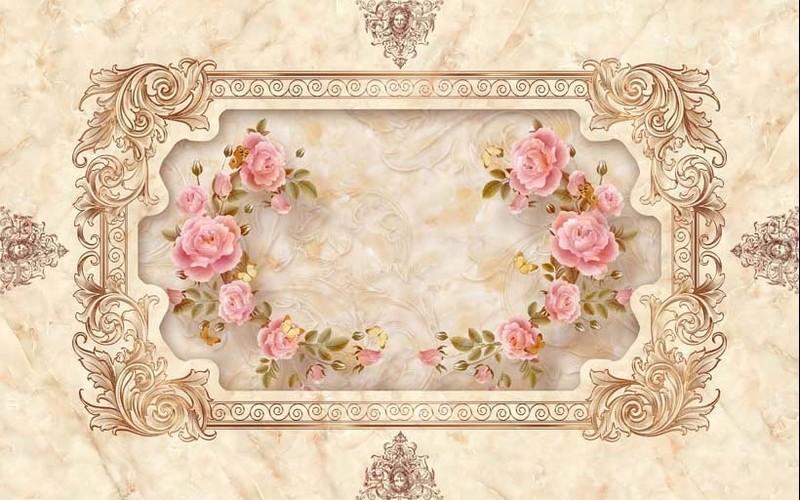 Mẫu tranh dán nền nhà họa tiết hình hoa dịu dàng - 01