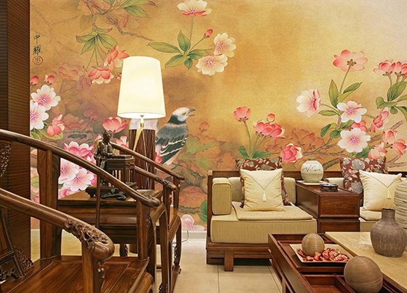 Tranh hoa đào ngày Tết cũng cực hot cho phòng khách