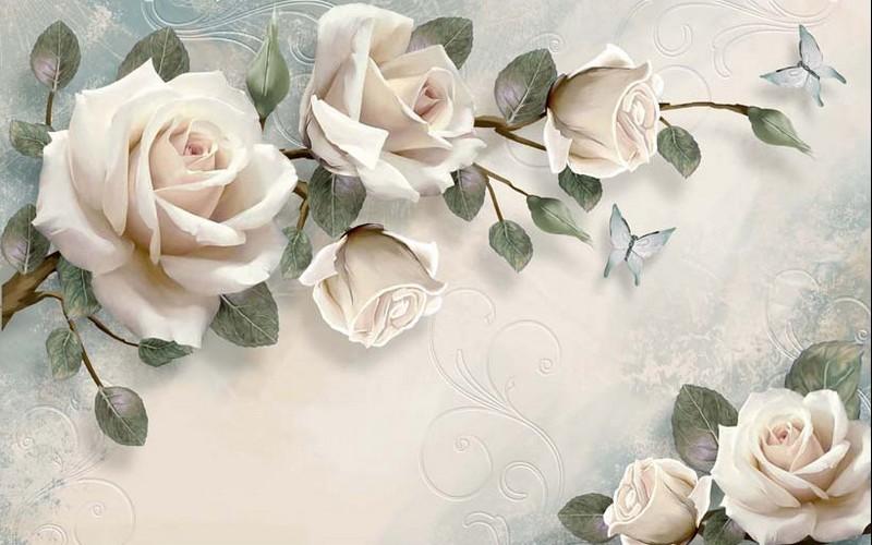 Tranh giả ngọc - mẫu tranh hoa hồng đẹp lung linh