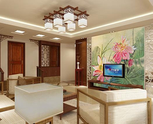 Phòng khách nhỏ thay vì dùng tranh treo tường nên chọn tranh dán tường khổ lớn để tăng độ rộng không gian