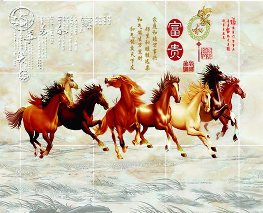 Tranh hoa sen, tranh ngựa - những loại tranh 3D phòng khách tuyệt đẹp: TH-58P-00490-copy