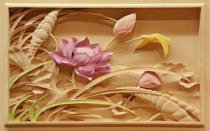 Tranh hoa sen, tranh ngựa - những loại tranh 3D phòng khách tuyệt đẹp: mẫu in TH-58P-005236-copy