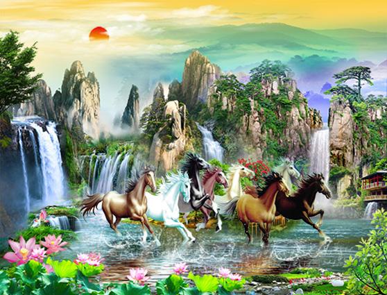 Mẫu tranh dán tường 3d khổ lớn - tranh ngựa mang lại may mắn bình yên cho gia chủ (Mẫu in tranh TH-58P-05047-copy)