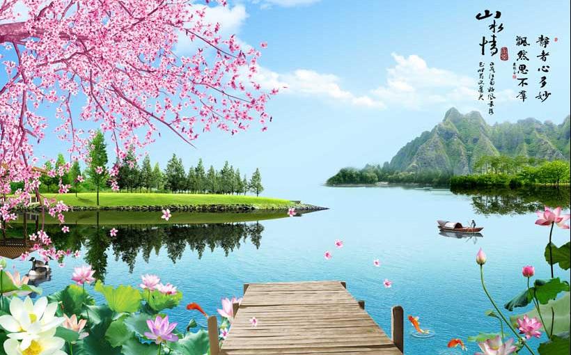 Tranh hoa sen cá chép tuyệt đẹp cho phòng khách (Mẫu in tranh 3d theo yêu cầu TH_05384)
