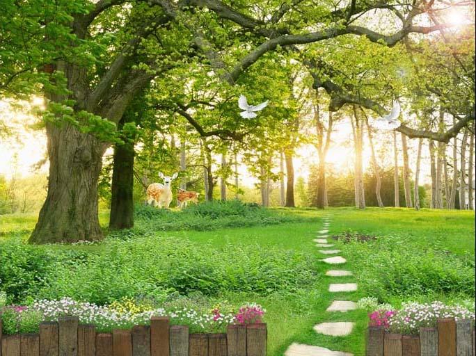 Bình yên với mẫu tranh phong cảnh tràn ngập cây cối, hoa lá (mẫu in tranh TH_09488)