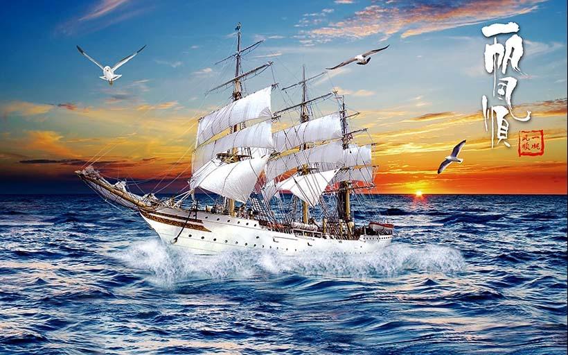 Tranh thuận buồm xuôi gió của xưởng in tranh Thiên Hà luôn bền và đẹp