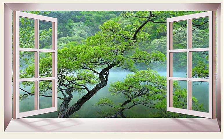 Tranh cửa sổ 3D tuyệt đẹp, giá rẻ: mẫu in TH_25877