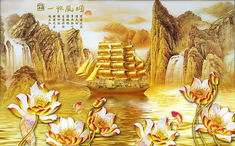 th_o_00295-copy - Mẫu tranh dán tường mang ý nghĩa làm ăn thuận buồm xuôi gió