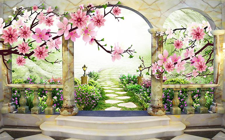 Tranh cửa sổ 3D tuyệt đẹp, giá rẻ: mẫu in TH_O_00326-copy