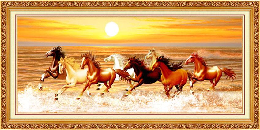 Mẫu tranh dán tường 3d khổ lớn - tranh ngựa mang lại may mắn bình yên cho gia chủ (Mẫu in tranh YD-311-copy)