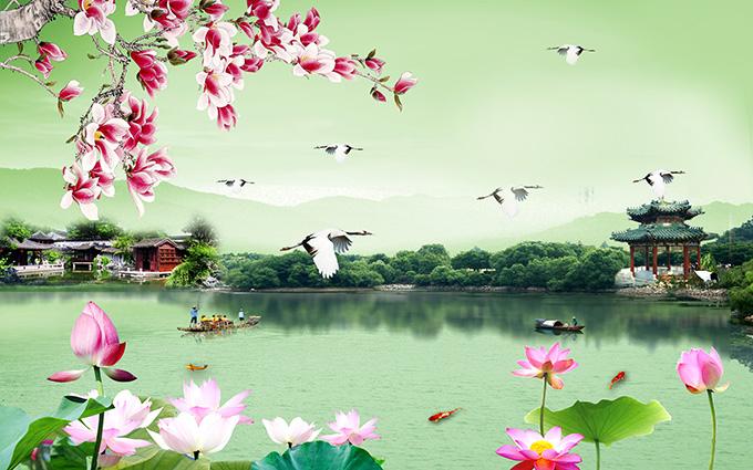 Tranh hoa sen cá chép tuyệt đẹp cho phòng khách (Mẫu in tranh 3d theo yêu cầu: ZS-348-copy)