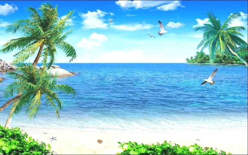Tranh phong cảnh biển 3D tuyệt đẹp cho phòng khách: mẫu in TH_05390