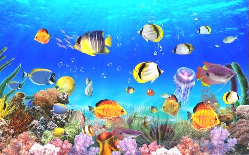 Tranh cảnh biển với nhiều sinh vật biển đáng yêu cho bé