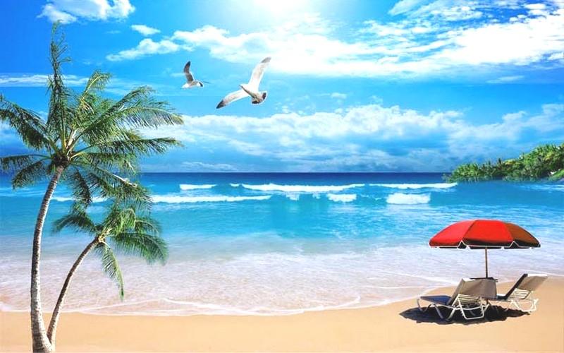Tranh phong cảnh biển 3D tuyệt đẹp cho phòng khách: mẫu in TH_10202