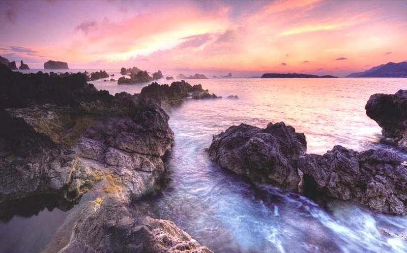 Mẫu tranh phong cảnh biển hoàng hôn cho 1 phòng ngủ bình yên và lãng mạn: Mẫu inTH-10208