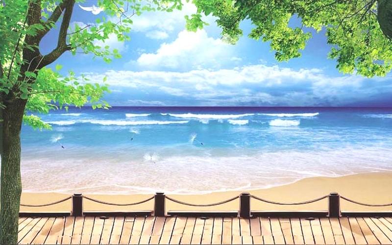 Tranh phong cảnh biển 3D tuyệt đẹp cho phòng khách: mẫu in TH_10219
