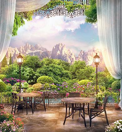 TH-1376 - Tranh dán tường 3d - cách trang trí quán trà sữa, quán cà phê ấn tượng nhất
